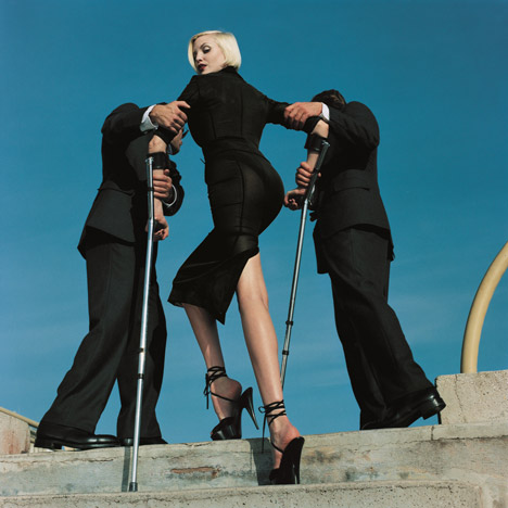 High & Mighty shoot, American Vogue, February 1995 (model Nadja Auermann) Dolce & Gabbana suit, Summer 1995. Image courtesy Estate of Helmut Newton. Photograph by Maconochie Photography